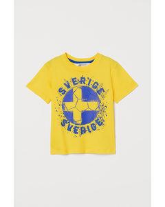 T-Shirt mit Fußballdruck Gelb/Sverige