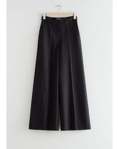 Wide Press Crease Trousers Black