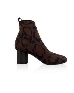 Salvatore Ferragamo Leopard Capo 55p Sock Ankle Boots Size 7c 37.5c
