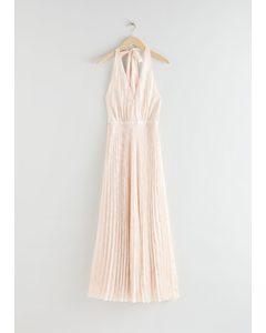 Pleated Halterneck Maxi Dress White