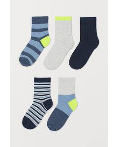 5 Paar Sokken Donkerblauw/neongroen