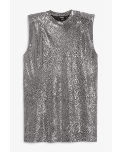 Sleeveless Mini Dress Black And Silver Glitter