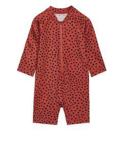 All-in-One-Badeanzug mit LSF50 Rot/Gepunktet