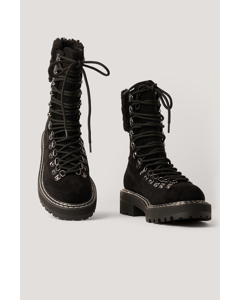 Teddy Detailed Trekking Boots Black