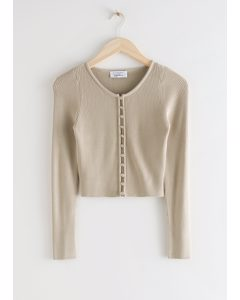 Ribbed Cropped Cardigan Top Beige