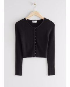 Ribbed Cropped Cardigan Top Black