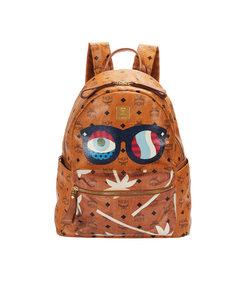 Mcm Visetos Stark Evil Eye Leather Backpack Brown