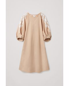 Embroidered Puff Sleeve Dress Beige / White