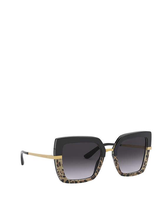 Dolce & Gabbana Dg4373 Top Black On Print Leo / Black Sunglasses