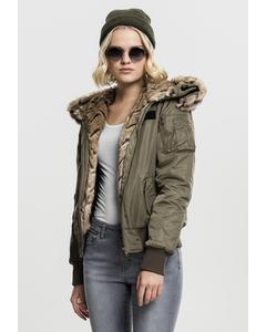 Damen Ladies Imitation Fur Bomber Jacket
