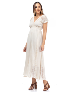 Long Dress With Wrap Neck, Elastic Waist, Shoulders And Lace Cutouts