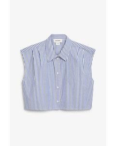 Ärmelloses Kurzarmhemd Weiß/blau gestreift