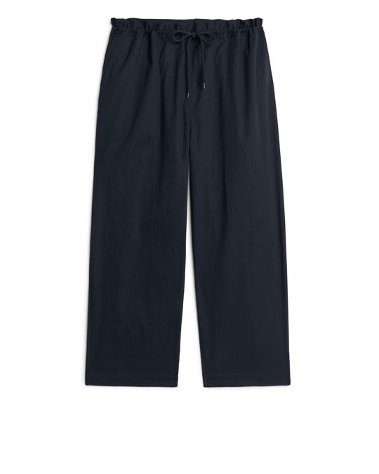 Arket Ruffled Drawstring Trousers Dark Blue