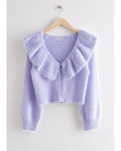Fuzzy Cropped Ruffle Collar Cardigan Lilac