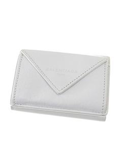 Balenciaga Papier Leather Compact Wallet White