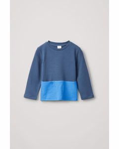 Colour-block Jersey Top Navy / Light Blue