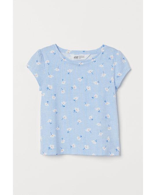 H&M Tricot Top Met Pofmouwen Lichtblauw/bloemen