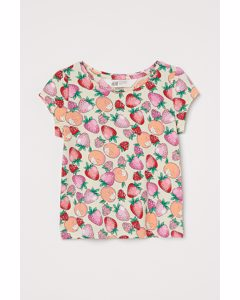 Jerseyshirt mit Puffärmeln Hellbeige/Erdbeeren