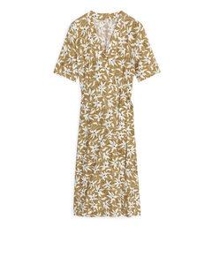 Printed Wrap Dress Beige