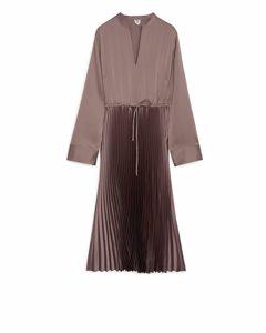 Pleated Satin Dress Taupe