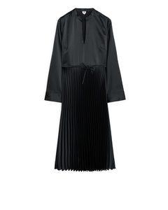 Pleated Satin Dress Black