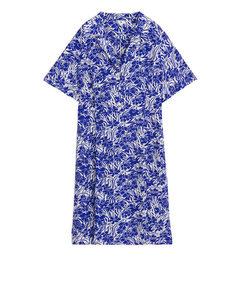 Short Fluted Dress Blue/pattern