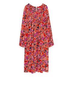 Wide Fluid Dress Orange/floral