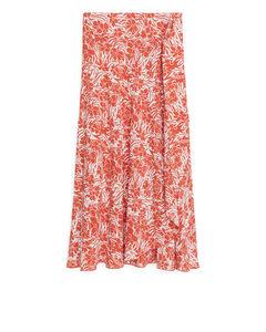 Floral Wrap Skirt Orange/floral