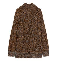 Melange Wool Knitted Jumper Orange/Blue/White