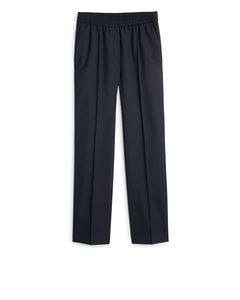 Elastic Waist Wool Trousers Dark Blue
