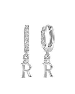 Ohrringe, 925 Silber, Buchstabe mit Zirkonia - Buchstabe R