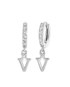 Ohrringe, 925 Silber, Buchstabe mit Zirkonia - Buchstabe V