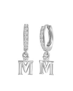Ohrringe, 925 Silber, Buchstabe mit Zirkonia - Buchstabe M