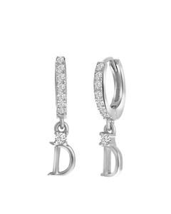 Ohrringe, 925 Silber, Buchstabe mit Zirkonia - Buchstabe D