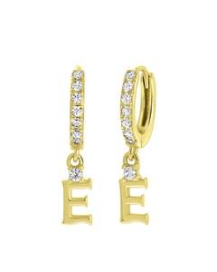Ohrringe, 925 Silber, vergoldet, Buchstabe mit Zirkonia - Buchstabe E