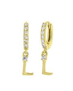Zilveren Oorbellen Gold Alfabet Met Zirkonia - L