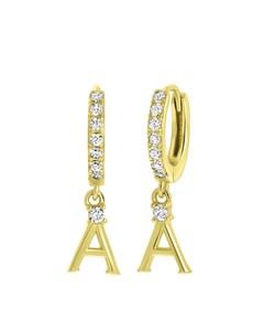 Ohrringe, 925 Silber, vergoldet, Buchstabe mit Zirkonia - Buchstabe A