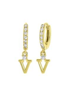 Ohrringe, 925 Silber, vergoldet, Buchstabe mit Zirkonia - Buchstabe V