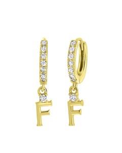 Ohrringe, 925 Silber, vergoldet, Buchstabe mit Zirkonia - Buchstabe F
