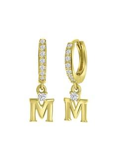 Ohrringe, 925 Silber, vergoldet, Buchstabe mit Zirkonia - Buchstabe M