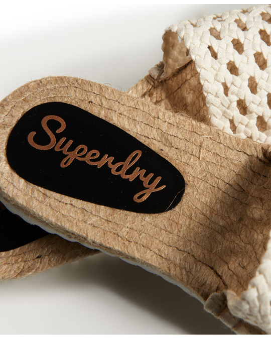 Superdry Macrame Espadrille Slide Off White