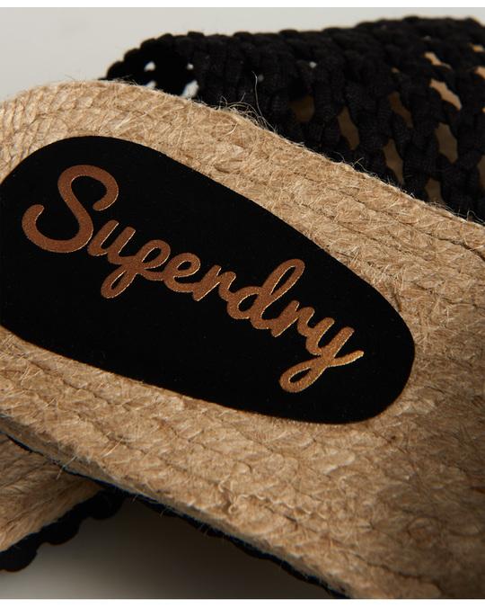 Superdry Macrame Espadrille Slide Black