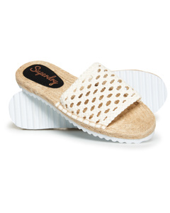 Macrame Espadrille Slide Off White
