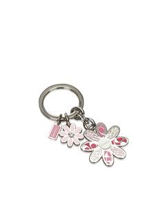 Coach Metal Floral Key Ring Pink