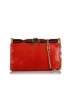 Gucci Broadway Snakeskin Evening Bag Red