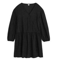 Strukturiertes Seiden-Jacquard-Kleid Schwarz