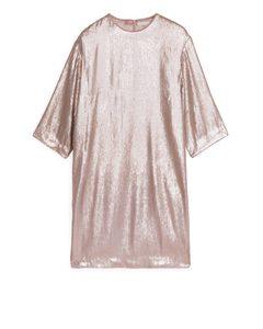 Matte Sequin Dress Dusty Pink