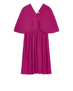 Short Pleated Dress Fuchsia