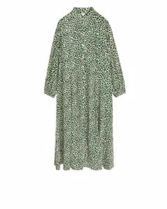 Fluid Long-sleeved Dress Green/white