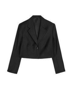 Wool Flannel Cropped Blazer Black